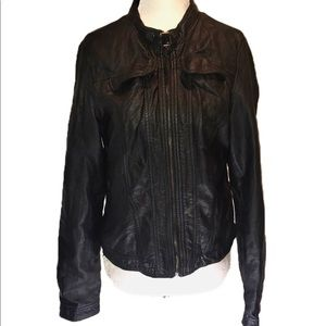 """Ci SONO"" Black Faux Leather Look Moto Jacket ."